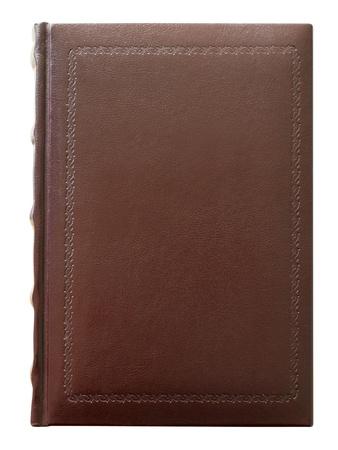 Buch in leere Lederbezug mit gestempelt, isoliert auf weiss. Clipping Path enthalten. Standard-Bild - 9806837