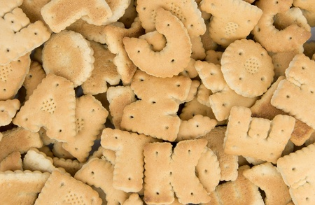 Cookies in the form of the alphabet background. photo