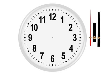 orologio da parete: Classic bianco orologio da parete con le mani separate Archivio Fotografico