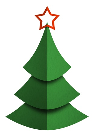 Christmas tree made of paper isolated on white photo