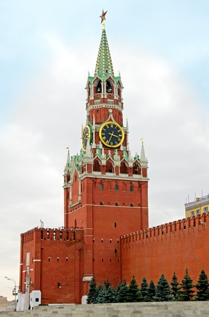 Spasskaya Tower of Moscow Kremlin.The Spasskaya Tower is the main tower with a through-passage on the eastern wall of the Moscow Kremlin, which overlooks the Red Square.