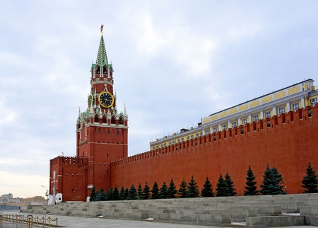 Spasskaya Tower of Moscow Kremlin.The Spasskaya Tower is the main tower with a through-passage on the eastern wall of the Moscow Kremlin, which overlooks the Red Square. photo