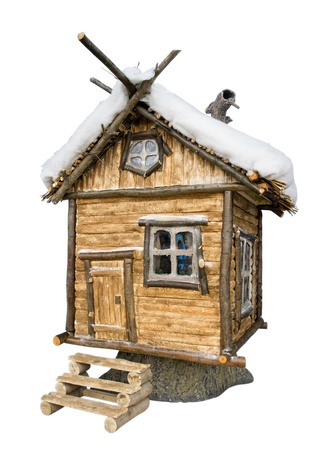 refuge: Fairy tale house. Isolated on white. Clipping path included.  Stock Photo