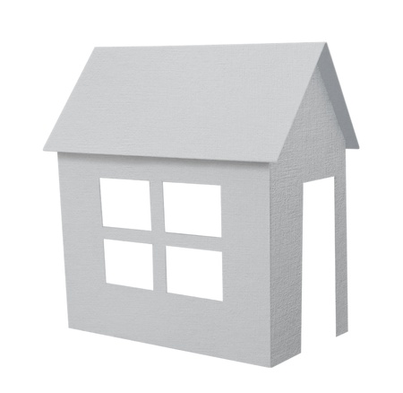 Paper house with red roof isolated over white background.