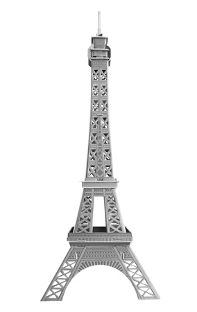 A model Eiffel tower of cardboard isolated on white. photo