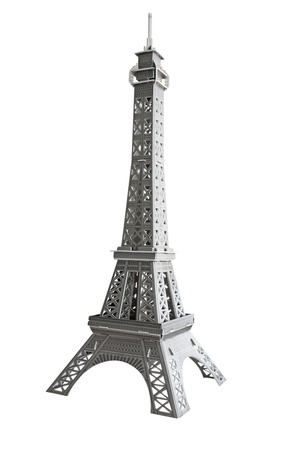 A model Eiffel tower of cardboard isolated on white. Clipping path.  photo
