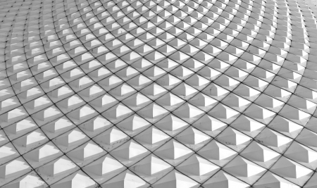 White metallic pyramid of tiles roof, architecture background.
