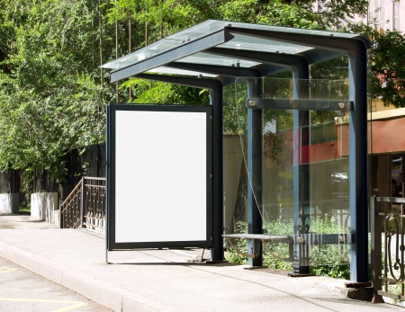 roadside: Blank Billboard on Bus Stop for your advertising situated (with work path)