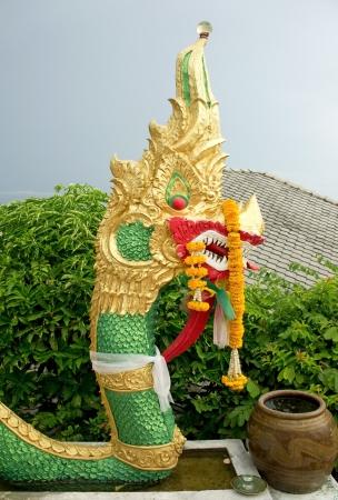 naga china: Head of Thai dragon - king of Naga statue