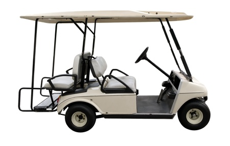 Golf car isolated on white. Clipping path included. photo