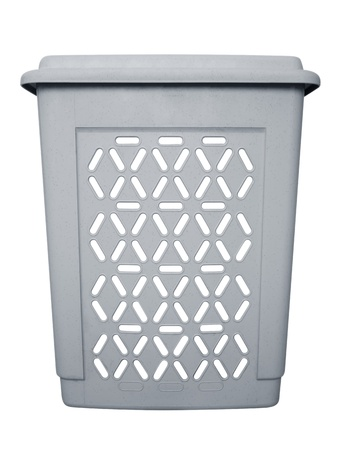 Plastic laundry basket on white. Clipping path included. photo