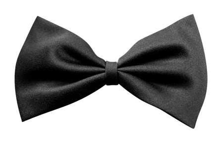 Black bow tie, isolated on white background. Clipping path included.