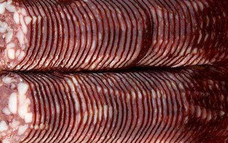 dinne: Smoked sausage slices. Close-up.