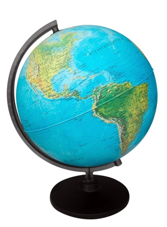 Terrestrial globe isolated on a white, clipping path included. Banco de Imagens