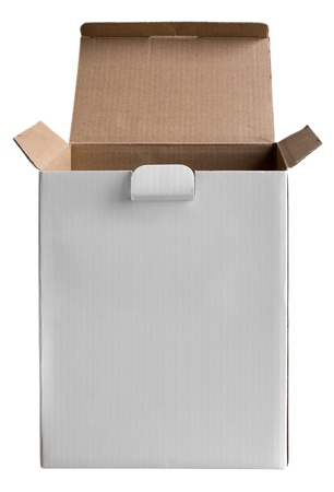 Opened cardboard box isolated on white background. Clipping path included. photo