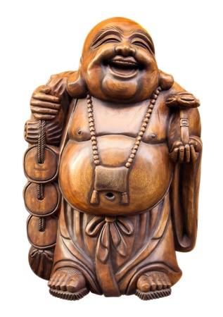 Wooden happy buddha - isolated on white. Clipping path included. photo