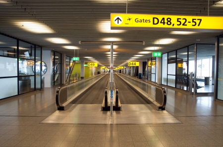 Moving escalator in the Amsterdams airport Schiphol