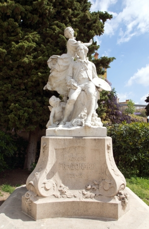 printmaker: Statue of Jean-Honore Fragonard  famous French painter and printmaker  in Village of Grasse, Provence, France Stock Photo