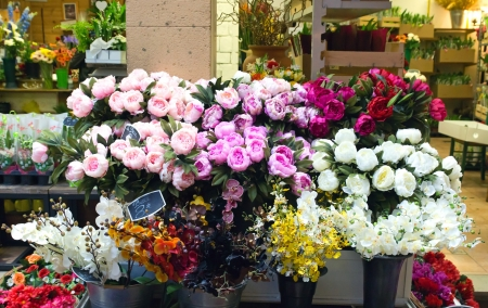 Outdoor flower market in Nice, France photo