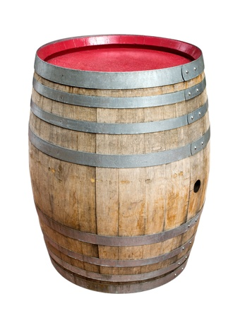 resistant: Wooden barrel for wine with steel ring. Clipping path included.