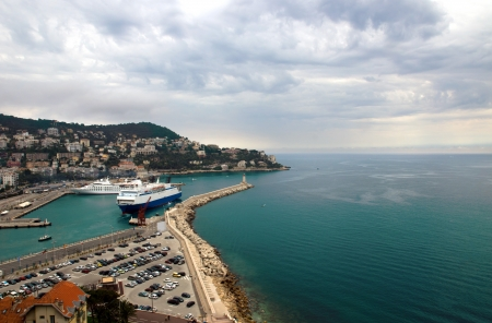 villefranche sur mer: Aerial view of the harbor in Villefranche sur mer in Nice, France