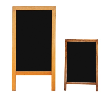 Two empty menu boards isolated over white  Clipping path included  Stock Photo
