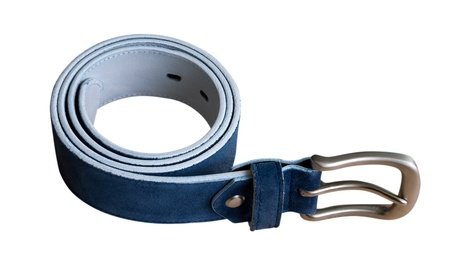 Blue suede belt isolated on white. Clipping path included. photo