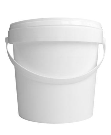 Plastic container for dairy foods. Isolated on a white. Clipping path included. photo