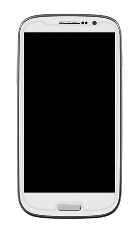 White Smart Phone with blank screen isolated on white. Clipping path included. photo