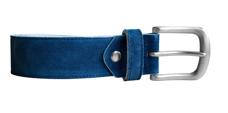 suede belt: Cintur�n de gamuza azul aislado en blanco. Camino de recortes incluido.