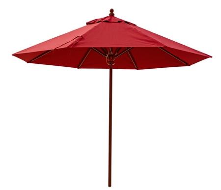 beach umbrella: Red beach umbrella isolated on white. Stock Photo
