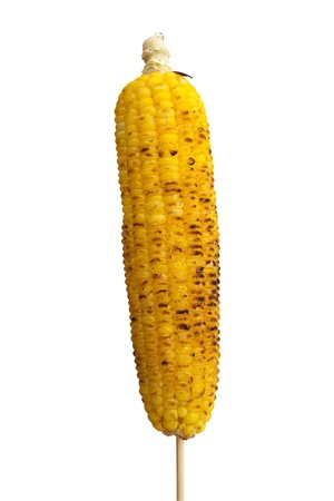 Grilled sweet corn cob isolated on white.
