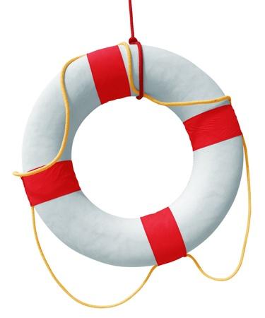 Lifebuoy aislado en fondo blanco. Camino de recortes incluido. Foto de archivo