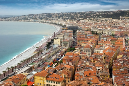 Wonderful panoramic view of Nice with colorful historical houses of the old city. photo