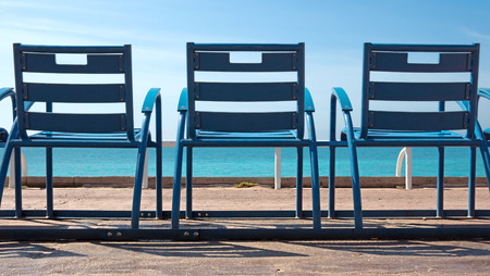Deck Chairs in front of the sea, Nice, France