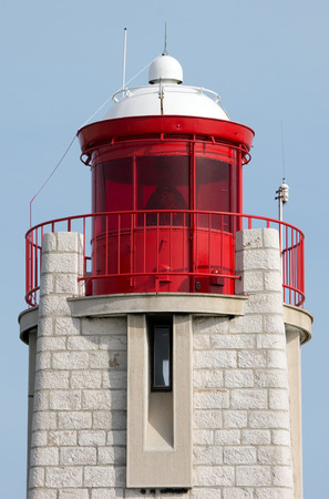 Lighthouse closeup in the port of Nice, France photo