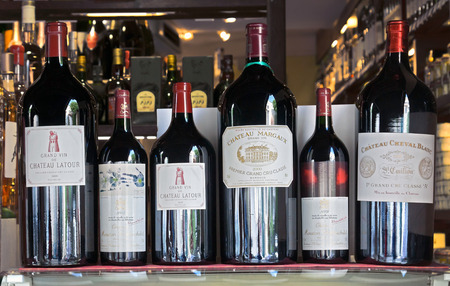 ANTIBES, FRANCE - MAY 6: Six famous Chateau wines for sale on May 6, 2013 in Antibes, France.