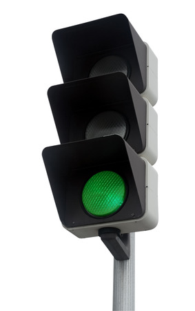 Green traffic light isolated on white. Clipping Path included.