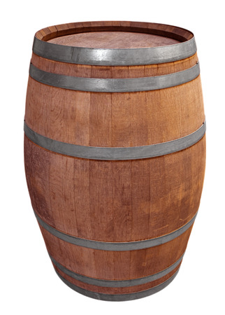 Wooden barrel for wine with steel ring Stock Photo