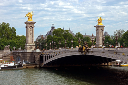 cherubs: Pont Alexandre III, Paris, France. The bridge, with its Art Nouveau lamps, cherubs, nymphs and winged horses at either end, was built between 1896 and 1900.