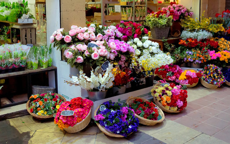 Outdoor flower market in Nice at night, France Stock Photo