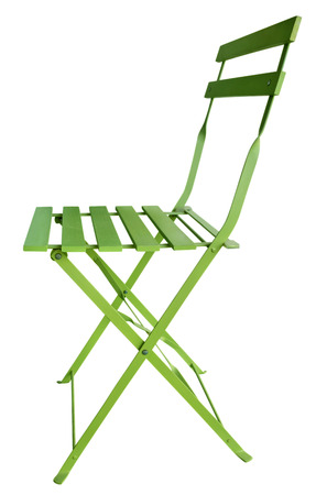 Green Folding Chair isolated on white photo
