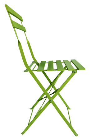 Green Folding Chair isolated on white, with clipping path. photo