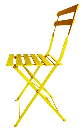 Yellow Folding Chair isolated on white, with clipping path. photo