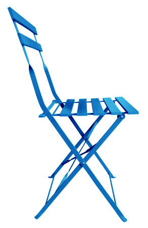 Blue Folding Chair isolated on white, with clipping path. photo