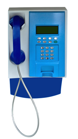 payphone: Public Payphone Isolated on White Background. Clipping Path included. Stock Photo