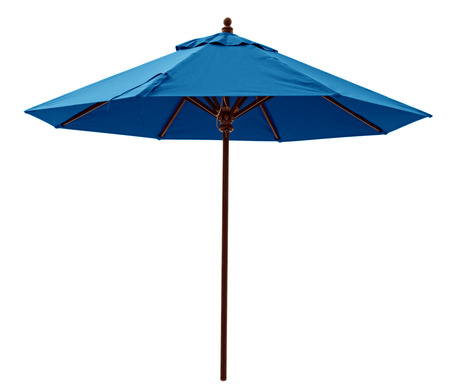 beach umbrella: Blue beach umbrella isolated on white. Clipping path included.