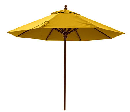 Yellow beach umbrella isolated on white. Clipping path included. Standard-Bild