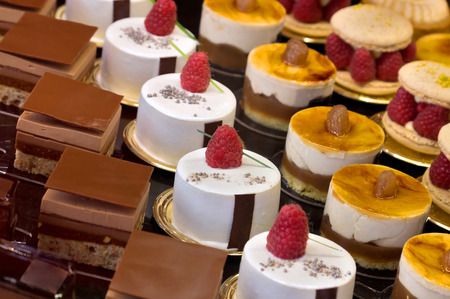 Chocolate cakes on display a confectionery shop in France. photo