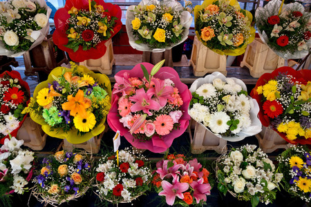 Outdoor flower market in city of Nice, France